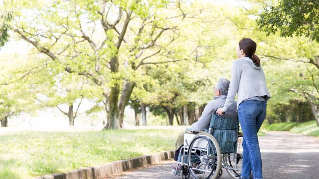 Rear,View,Of,Elderly,Man,In,Wheelchair,And,Care,Helper