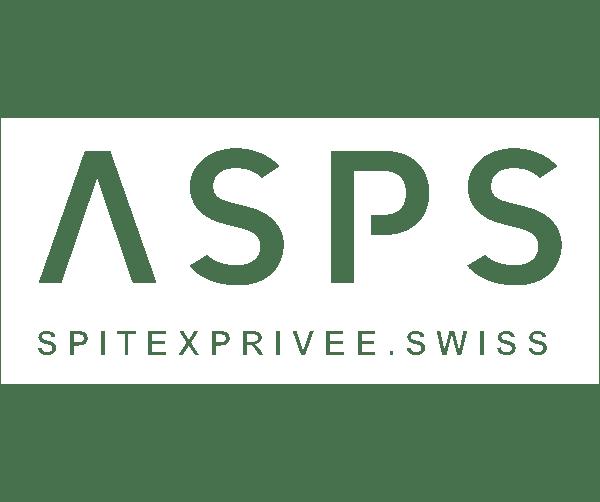 Logo von ASPS in weiss für Kampagne Karriere machen als Mensch.